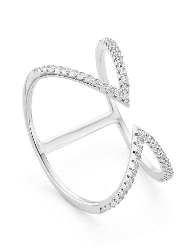 Arrow open cuff ring in silver