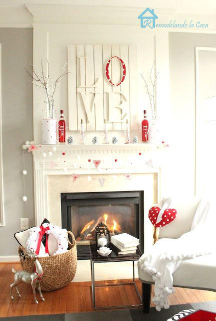 Valentine's red and white mantel 1