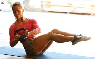 Kettlebell Russian twist are an exercise part of Kim's fitness model workout