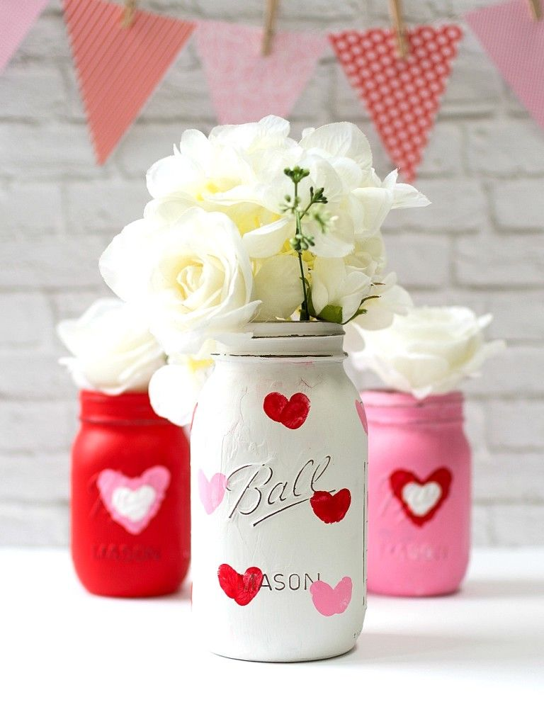 Valentine kid craft idea thumbprint heart mason jar vases