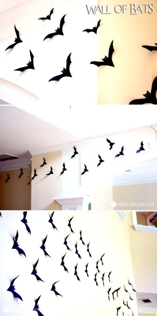 DIY flying bats wall