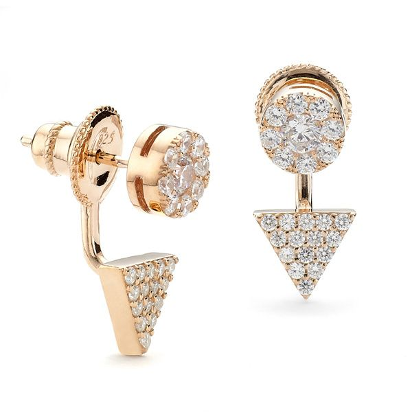 Rose gold triangle and disc swing earring in two parts