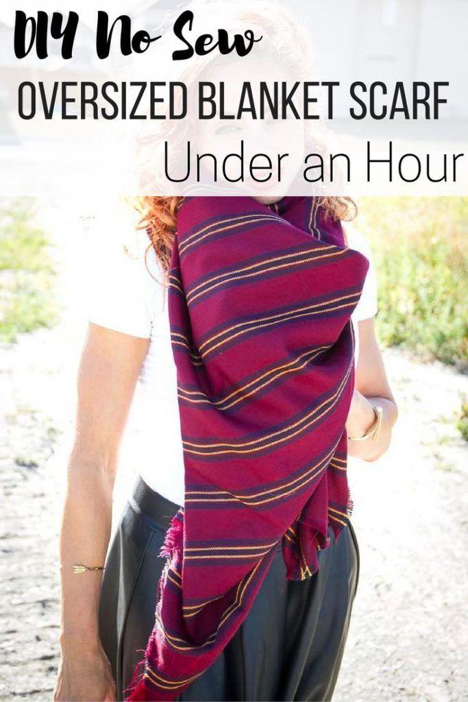 DIY No Sew Oversized Blanket Scarf