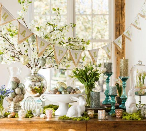 Easter table setting, Easter banner, Pottery Barn Easter decor, Easter decoration ideas