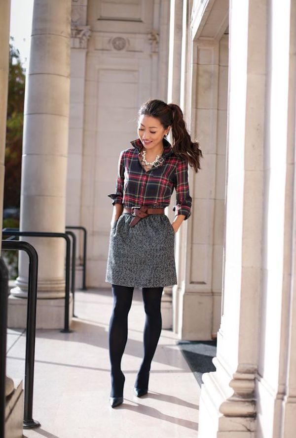 Tweed skirt with plaid shirt, white shirt, black pants, business attire, work outfit, clothes for work, work clothes, business clothes, work dress
