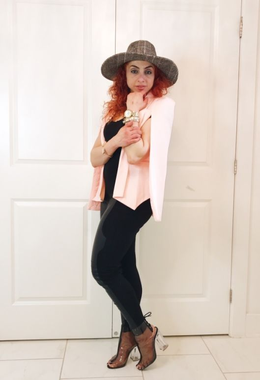 Mothers day gift, transparent peep toe booties with clear heel, black leather leggings, pink cape, plaid oversized hat, black top