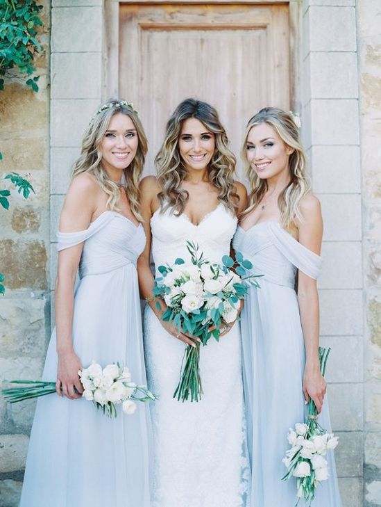 Light grey bridesmaid dress