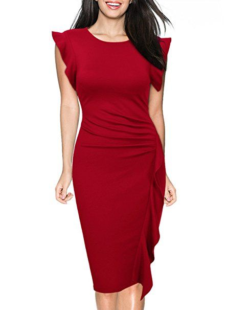 ruffle-cap-sleeve-red-dress