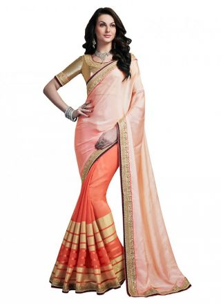 Saree in coral and peach