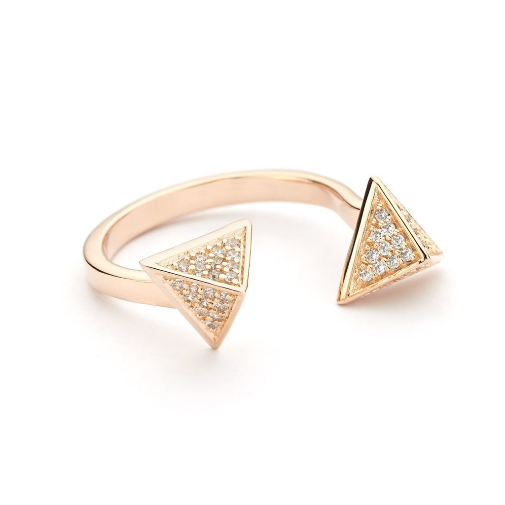 Pyramid open ring pave in rose gold