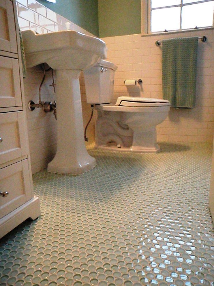 Glass bathroom floor