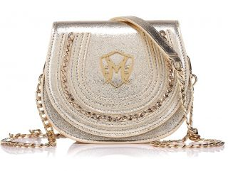 Aimee gold shoulder bag genuine sheep leather