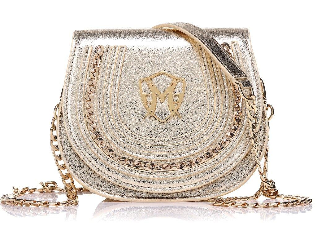 Aimee gold shoulder bag genuine sheep leather