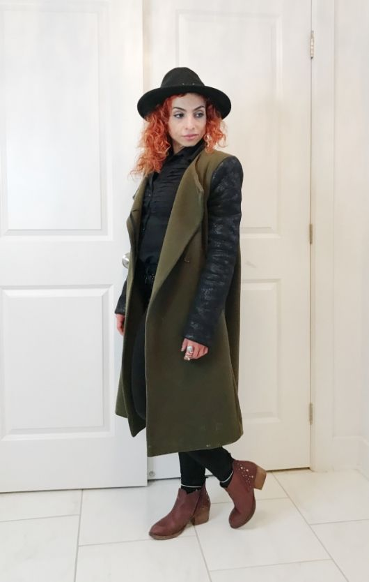 Mothers day gift, Burgundy booties, army green and black coat, black hat