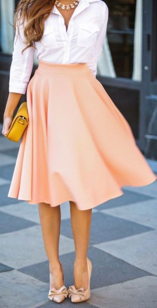 White buttons down shirt with flowy peach skirt, business attire, work outfit, clothes for work, work clothes, business clothes, work dress