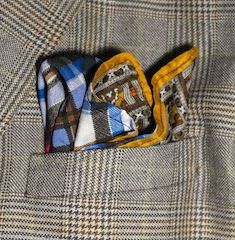 Orange and plaid reversible pocket squares made from re-purposed fabric