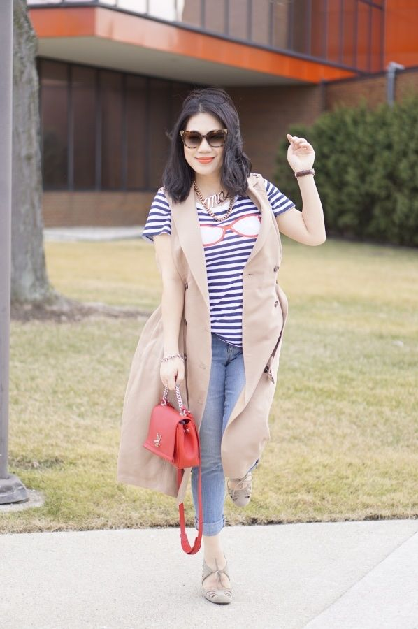 Grace's outfit striped shirt, long vest and jeans