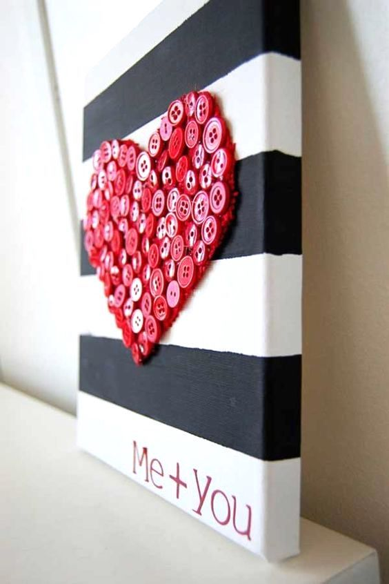 Valentines Day black and white striped and red button heart canvas