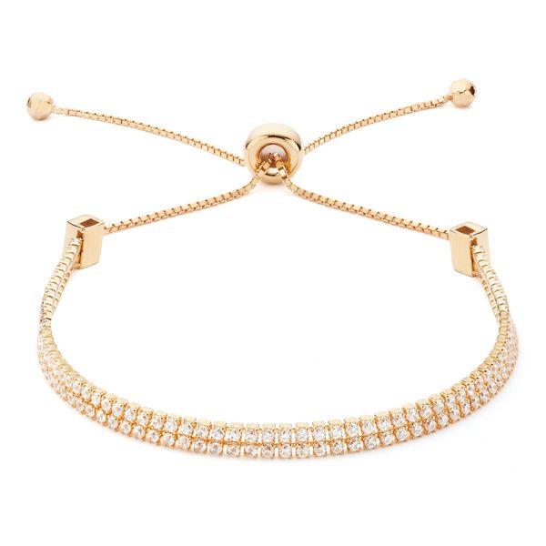 Rose gold double strand CZ adjustable slide bracelet