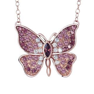 Dusty rose butterfly necklace, pink butterfly necklace, wedding jewellery, sterling silver necklace