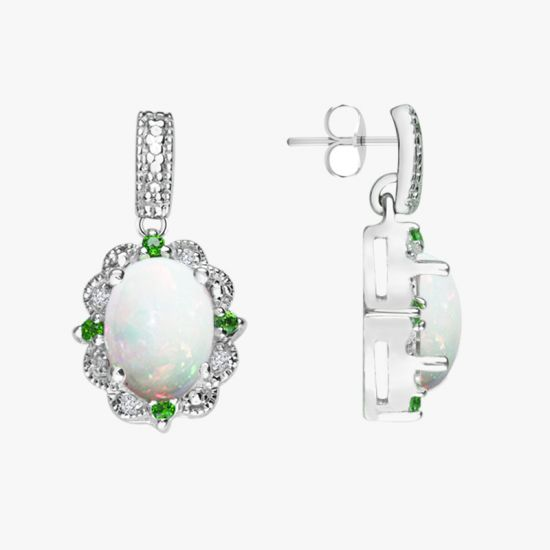 Diamonds and Chrome Diopside earrings