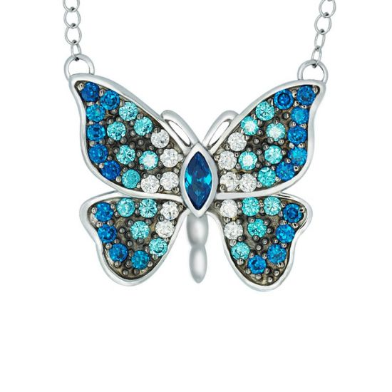 Blue butterfly neckalce, turquoise butterfly necklace, wedding jewellery, sterling silver necklace