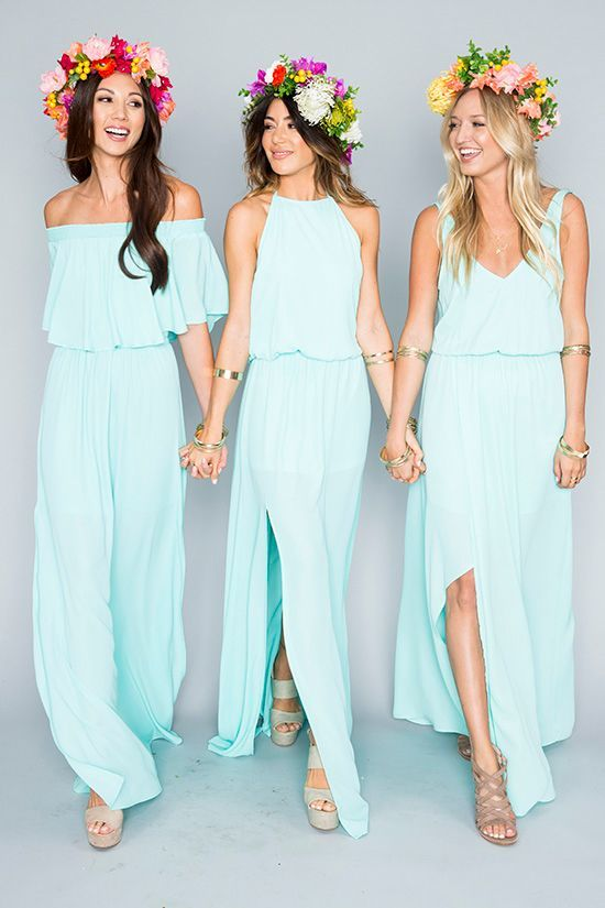 Aqua bridesmaids dresses