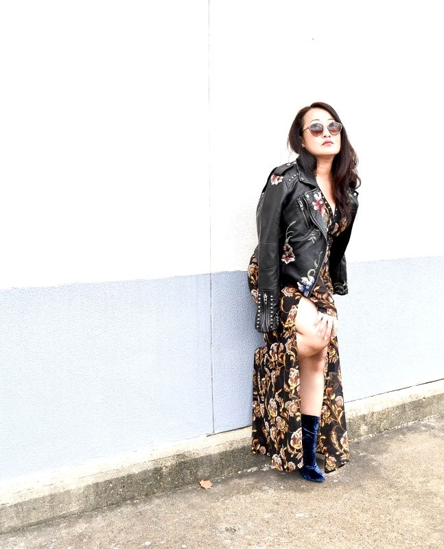 sheela-in-floral-dress-and-leather-jacket