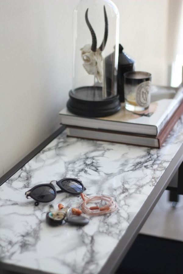 DIY white and grey marble contact paper table, Marble contact paper, Adhesive contact paper