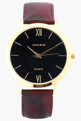 Brown leather strap and gold classic watch