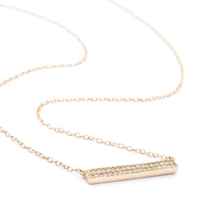 Rose gold 2 row crystal ingot necklace