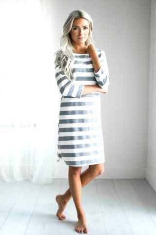 striped-knee-length-conservative-dress