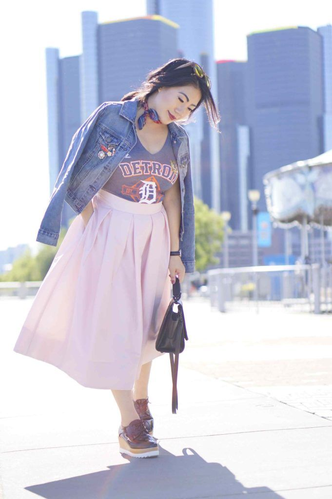 grace-in-a-pink-skirt-with-a-jean-jacket-and-t-shirt