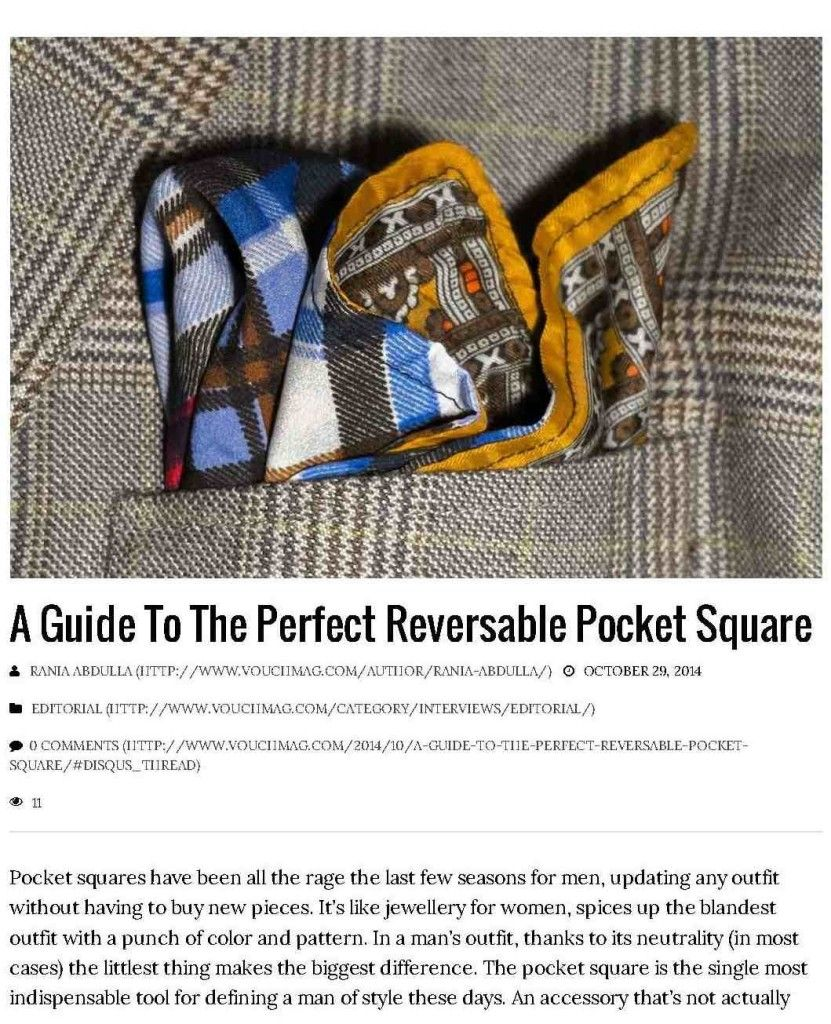 Press and events: Guide: The Reversible Pocket Square VOUCHMAG