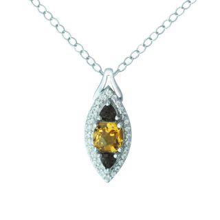 Citrine, smoky quartz and created white sapphire stone necklace