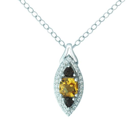 Citrine, smoky quartz and created white sapphire stone necklace