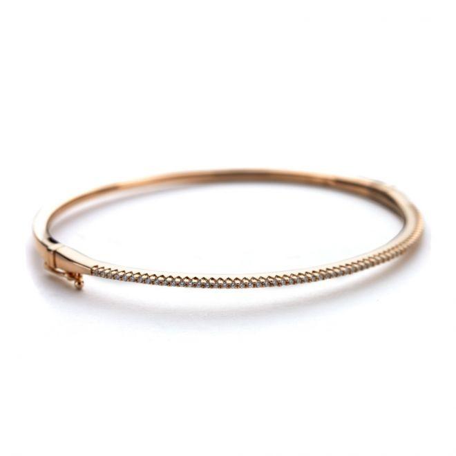 CZ rose gold oval bangle