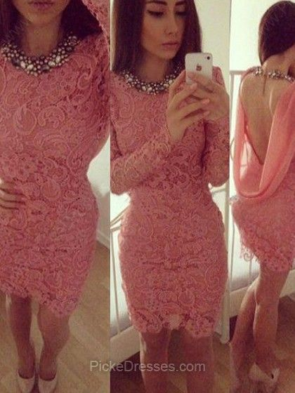 Scoop beaded neck short pink lace dress