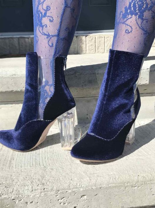 Mothers day gift, velvet royal blue booties with clear panels